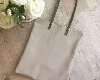Leather Tote bag / Beige grey leather tote bag / leather shopper / light leather tote bag