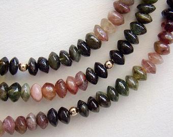 Paint It Black Necklace, Rainbow Tourmaline Long Beaded Necklace, Colorful Tourmaline Gold Bead Long Necklace, Long Gemstone Necklace