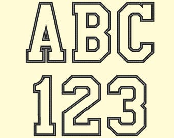 Sport, collegiate, block applique Font machine embroidery designs - many sizes, BX embroidery, bx font alphabet sport