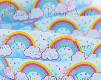 "7/8"" Skies and Rainbows Glitter Grosgrain Ribbon - 1 yd"