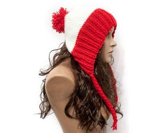 Hat Women Cap pompom Teenage red white hat Chunky knit hat Slouchy earflap hat Knit Accessories Gift For Her
