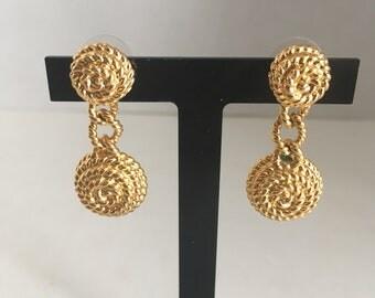 Vintage Gold Tone Twisted Rope Textured Dangling Earrings Pierced Earrings - 1950s 1960s