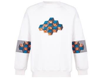 Tribal cubes, African sweatshirt appliqué cubes, 100% cotton, all sizes unique style, streetwear, retro fashion, vintage fashion