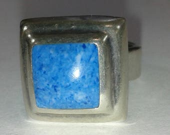 Crushed Turquoise Silver Ring Heavy Non-Magnetic