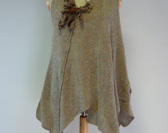 The hot price. Warm boho wool vest, L size.