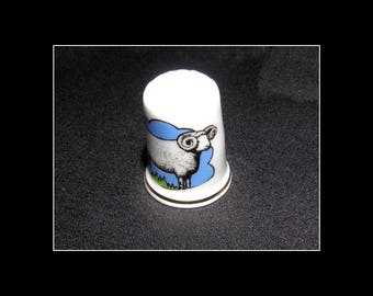 Vintage Porcelain Thimble Birchcroft Fine Bone China Made in Gr Britain Sheep Nr2