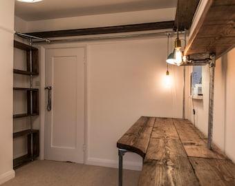 Bespoke Workstation - Freestanding Shelving and Desk made from reclaimed scaffolding.