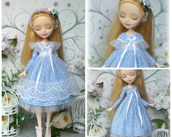 Blue dress with pinafore for Monster High/EverAfterHigh, Blythe / Azone pure neemo L/M/S/XS, Momoko, Obitsu 24 and same doll 1/6 size