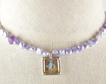 Purple Pearl and Amethyst Necklace with Framed Hand Pained Buddha Pendant