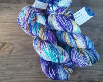 Hand Dyed Yarn, Worsted Weight, 100% Superwash Merino Wool,  Aqua Blue Gold Green Purple