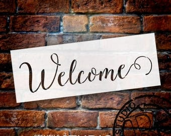 Welcome Sunny Script Word Stencil - Select Size - STCL1438 - by StudioR12