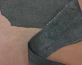 Fish leather black suede finish perforated