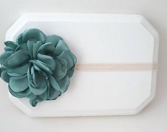 Turquoise Satin Flower on an Ivory Elastic Headband - Turquoise Newborn Prop - Toddler Headband - Shabby Headband - Cottage Chic Bow