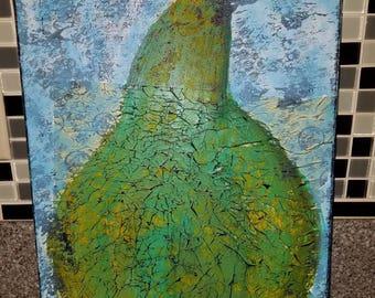 Pear Mixed Media Art Canvas 12x16 inches - Original Artwork