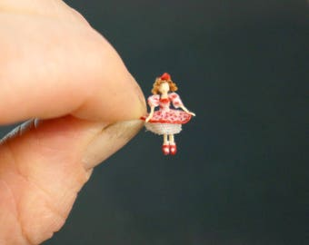 Reserved for Marie-Claude: Handmade Miniature Shirley Temple-like doll in red