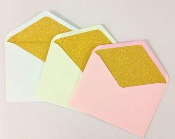 Gold Glitter Lined Envelope - Set of 10 Enverlope Liners (Size 5 x 7)