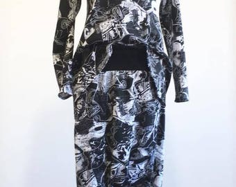 black&white set, loose sweatshirt, baggy trousers, loose trousers, elastic trousers like leggings