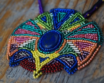 Beaded embroidered necklace, soutache