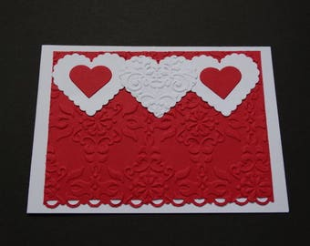 Baroque embossing - theme 3 birthday card hearts