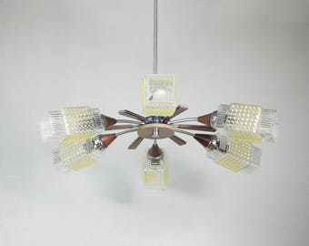 SIX ARM CHANDELIER // Vintage Mid century Yellow Ceiling Light // Geometric Ornamented Glass Shades