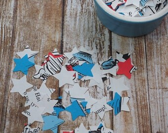 Dr Seuss Star shaped confetti  - scrapbooking supplies -baby shower - birthday party - party table decoration - pack of 200