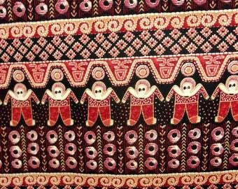 TIssu coton patchwork / Bel imprimé Aborigènes bordeaux, creme.