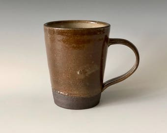 Modern large 14 oz handmade pottery coffee/tea cup bronze earth tones with white and orange highlights Haight Pottery Company