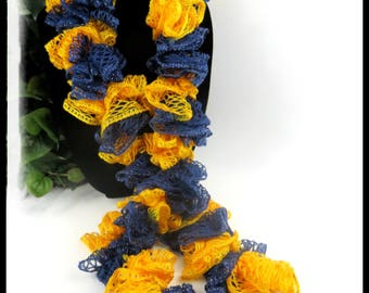 Blue and Gold team scarf, Michigan accessories, Michigan scarf, sports team color scarves, ruffled scarves, crochet scarves