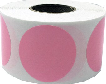 "Pink 1.25"" Inch Color Code Label 