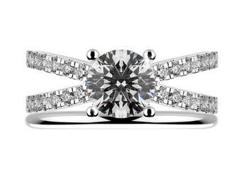 1.5 ct, Wedding rings set, Engagement ring, 14k White Yellow Rose Gold, Matching rings, Real diamonds, Unique Ring, Natural side diamonds