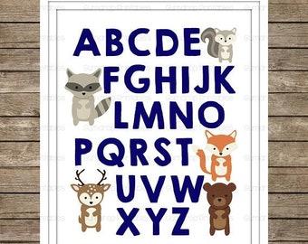 40%OFF Woodland Animals Alphabet Digital Print ~ Instant Download ~ ABC's ~ Nursery Decor ~ Baby Room ~ Woodland Fox Bear Deer ~ Boys ~ Navy