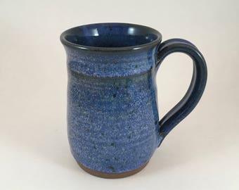 Large Handmade Mug, Blue Stoneware mug, Large Coffee cup, Blue Mug, Pottery mug, Ceramic mug, 16 Ounce mug, Ready to Ship!!