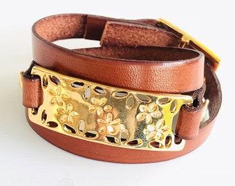 Brown Bracelet. Brown leather bracelet. Brown leather bracelet.