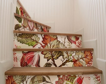 """DS00033 """"Retro flowers stairs"""" Stickers for stairs, fabric effect - Very high print resolution - Wall stickers"""