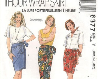 McCall's 6377 Size XS, S, M,  Women's  Skirt 1 hour wrap skirt sewing patterns. Skirt in 3 lengths
