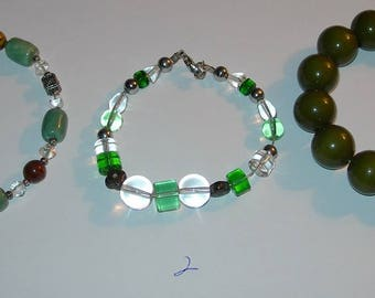 3 Vintage Greens and Browns Bead Bracelets Glass & Plastic