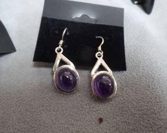 Sterling Silver Pierced Earrings with  Amethyst Stones marked 925