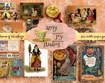 Vintage Halloween  Ephemera Pack  Printable Halloween  Graphics  Postcards  Digital Clipart Clip Art Collage Art  Halloween Printables