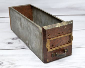 """Vintage Industrial Metal Drawer with Wooden Facet and Back 12"""" by 4"""""""