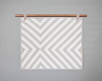 Quilted Wall Hanging / Grey and White / Copper pipe wall hanging / Abstract Wall Hanging / Minimalist Wall hanging