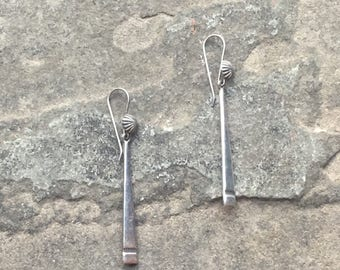 """Gorgeous Dangly Stering Silver Stick Earrings with Concho Detail made by Karl """"Kee"""" Nataani"""