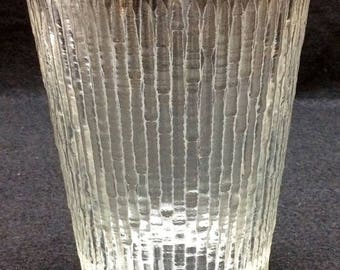"""ON SALE Jeannette Glass FINLANDIA Double Old Fashioned Glass Textured Ice Tree Bark 4 1/2"""" tall Mint Condition"""