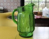 Vintage Green Glass Pitcher, Large Green Pitcher, 64 Oz. Retro Pitcher, Emerald Green Pitcher, Tree Rings on Pitcher, Midcentury Pitcher
