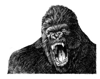 Gorilla - Original Drawing / Illustration