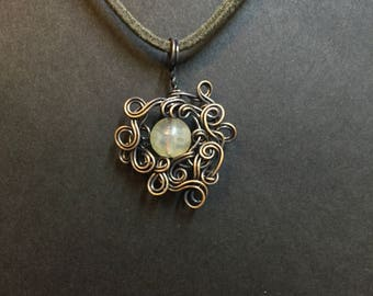 Yellow Tourmaline Copper Wrapped Pendant Necklace