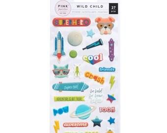 BOY/GIRL Pink paislee Wild child puffy stickers