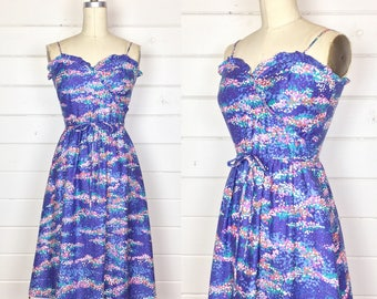 Vintage 1970s Purple Cotton Abstract Floral Sundress / Ruffle Trim / Made by Malia / Fit & Flare