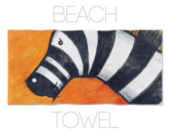 Animal Lover Beach Towel, Beach Accessory, Zebra Towel, Zebra Illustration, Cool Beach Towels, Kids Towels
