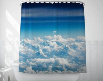 Cloud Shower Curtain, Clouds Bath Decor, Blue Sky Art, Sky Shower Curtain, Long Shower Curtain, Bath Shower Curtain, Decorative Bath Curtain