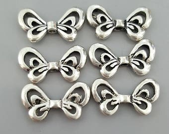 Double Sided Tibetan Antique Silver Butterfly Beads,17x10mm - 8Pcs